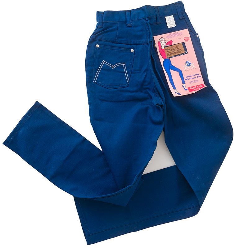 1960s Cobalt Blue Rockabilly Girl Jeans