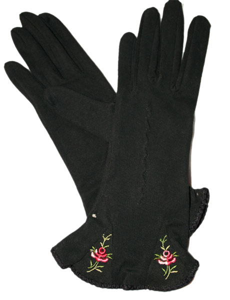 Embroidered 1940s Black Gloves Ballyhoovintage Com