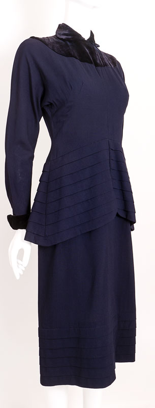 Amazing 1940s Velvet Accented Evening Dress