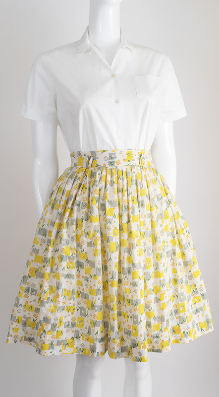 Fifties Flowery Flared Skirt