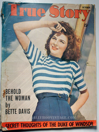 True Story Romance Magazine Oct 1941: Ballyhoovintage.com