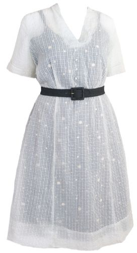 Sheer Nylon Seersucker 1950s Plus Size Dress Ballyhoovintage
