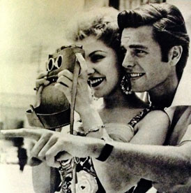 Debra Paget with viewmaster camera